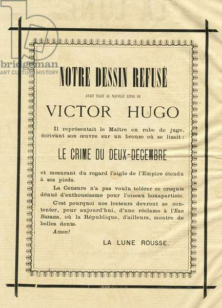 Illustration of Louis Alexandre Gosset de Guines dit Gill (1840-1885) in La Lune rousse, 1877-10-7 - Notre dessin refuses - Censorship, Verifier dates - Hugo Victor