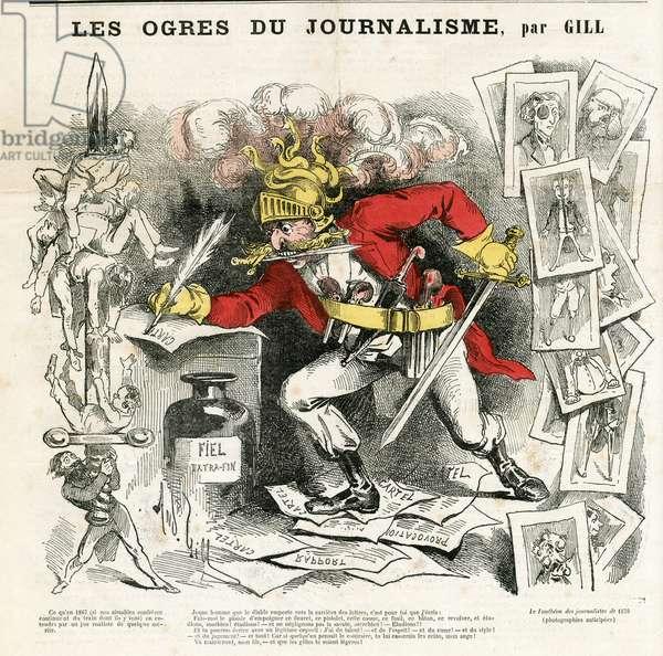 Illustration of Louis Alexandre Gosset de Guines dit Gill (1840-1885) for the Cover of La Lune, 1866-10-7 - the ogres of journalism - Censorship, Press/Media - Journalist