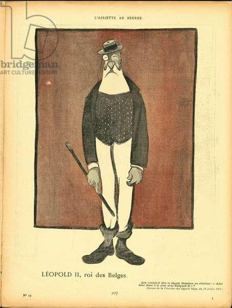 L'Plate au beurre, number 19, Satirique en couleurs, 1901_8_8: Belgium - Leopold II (1835-1909) - Illustration by Leal de Camara (1877-1948)