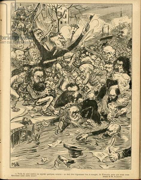 Illustration of Maurice Radiguet (1866-1941) in Le Rire, 1898-11-5 - Germany Prussia, England Great Britain, Hat - Clemenceau George, Jaures Jean, Deroulede Paul, Drumont Edouard, Brisson Adolphe