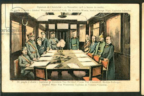 The Signing of the Armistice on 11th November 1918 at 5 a.m., 1918 - First World War - Armistice sign between Germany and allies in Compiegne Forest, Nov. 11, 1918.-1 Marechal Foch, 2 Admiral Wemyss, 3 American Delegate, 4 General Weygand, 5 M. Erzberger, 6 General V. Gundell, 7 General W. Winterfeldt, 8 Count Oberndorff - Postcard, en Couleurs, 1918: Signature of the Armistice - War of 14 -18, Peace, Armistice - Foch, Weygand