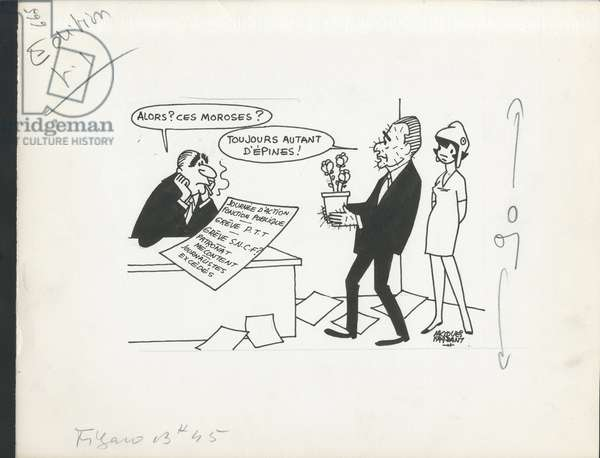 Le Figaro, Satirique in N & B, ca. 1971_6_4: Social, Greve, President of the Republic - Pompidou Georges, Chaban Delmas Jacques - Illustration by Jacques Faizant (1918-2006)