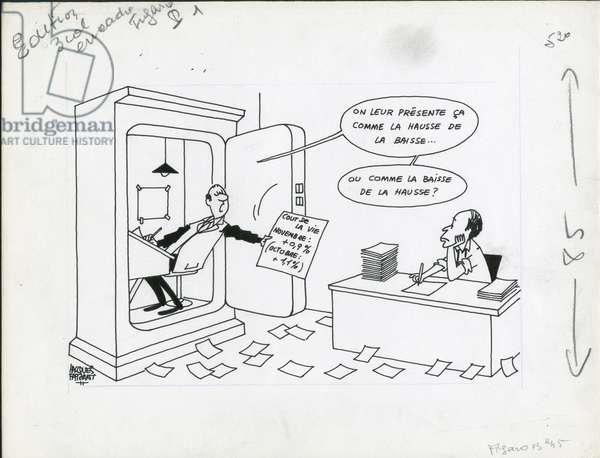 Le Figaro, Satirique en N & B, 1973_12_29: Budget Finances, President of the Republic, Inflation - Giscard d'Estaing Valery - Illustration by Jacques Faizant (1918-2006)