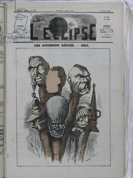 Illustration of Louis Alexandre Gosset de Guines dit Gill (1840-1885) for the Cover of L'Eclipse, 1870-2-20 - Les gourdins reunited - Censorship, Press/Media, Political Right