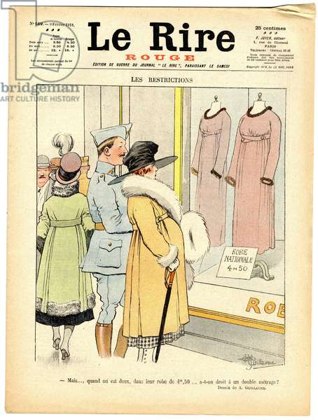 """Cover of """""""" The Red Laughter"""""""", Satirical in Colors, 1918_2_9: War of 14 -18: Restrictions, """""""" But... when you are two in their dress at 4.5 meters, do you get a double footage? """""""" - Soldier's Life, Fashion, Restrictions Rationoning - Illustration by Albert Guillaume (1873-1942)"""