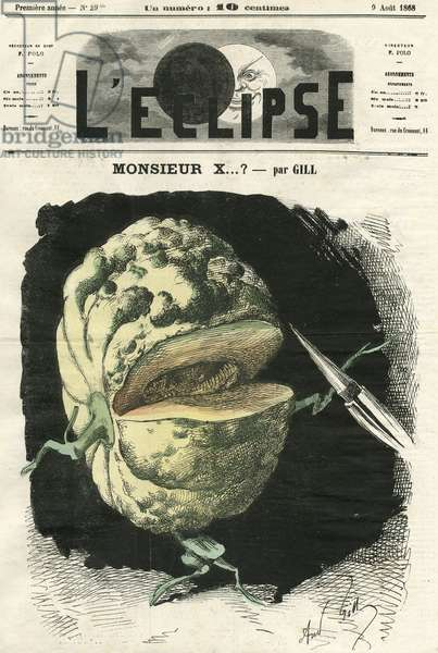Illustration of Louis Alexandre Gosset de Guines dit Gill (1840-1885) for the Cover of L'Eclipse, 1868-8-9 - Monsieur X...? - Censorship, Press/Media