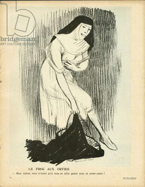 L'Plate au beurre, number 268, Satirique en couleurs, 1906_5_19: Religion - Defroquage - Nonnes - Illustration by Hermann-Paul (1864-1940)