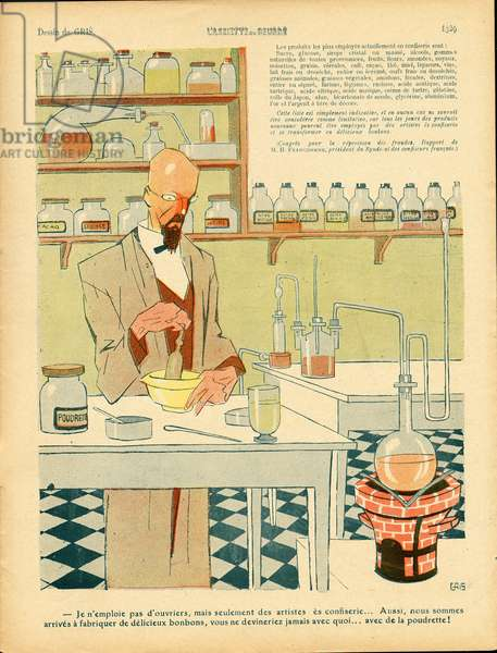 L'Plate au beurre, number 447, Satirique en couleurs, 1909_10_23: Science, Counterfacons - Illustration by J Gris (1887-1927)