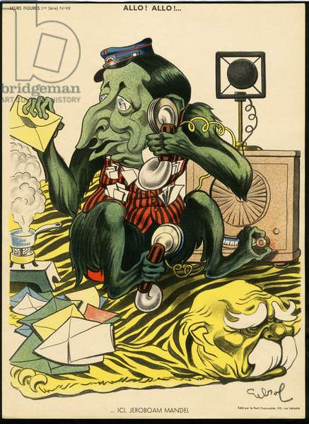 Their figures, Satirique en Couleurs, circa 1930: Radio Tsf, Courier La Poste, Telephone - Clemenceau George, Monkey, Mandel Georges, Tigre - Illustration by Raoul Cabrol (1895-1956)