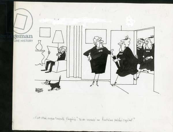 Figaro magazine, Satirique en N & B, 1979_5_5: Humor, Third age, Reproduction - Illustration by Jacques Faizant (1918-2006)