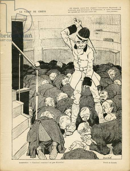 Illustration of Henri Gousse (1872-1914) in Le Rire, 13/03/09 - Le valet de chiens - Chambre des deputes Hemicycle, Amendment Magnaude - Clemenceau George, Dogs, Homemens Paid
