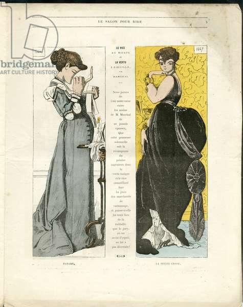 "Illustration by Louis Alexandre Gosset de Guines dit Gill (1840-1885) in """" Gill-Revue"""", 1868 - Art, Painting salons, Cartoons"