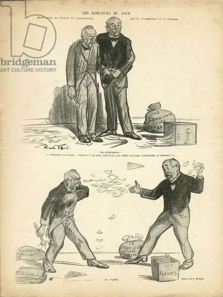 Illustration of Ricardo Flores (1878-1918) in Le Rire, 28/12/12 - Romance of the Day - Case of Panama, Case of Records, Repression - Million of the Chartreux - Combes Emile (1835-1921), Clemenceau George
