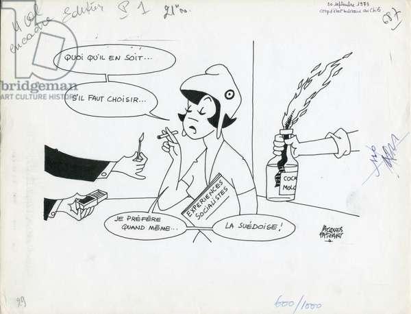 Le Figaro, Satirique en N & B, 1973_9_20: Chile, Socialism - Marianne - Illustration by Jacques Faizant (1918-2006)