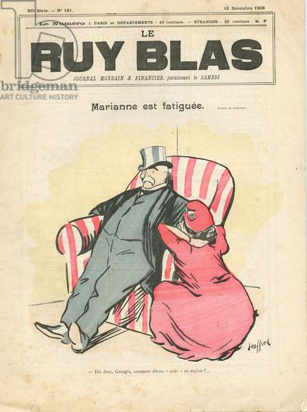 """Cover of """""""" Le Ruy Blas"""""""", 1908_12_12 - Illustration by Geoffroy (1853-1924): Marianne est fatiguee - Clemenceau George, Marianne"""