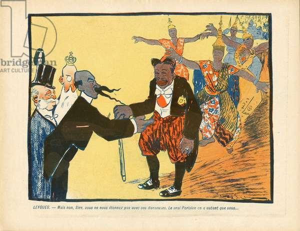 L'Plate au beurre, number 274, Satirique en couleurs, 1906_6_30: Belgium, Animals, Cambodia - Leopold II (1835-1909), Leygues Georges (1857-1933), Sisowath Preah Bat (1840-1927) - Illustration by Leal de Camara (1877-1948)