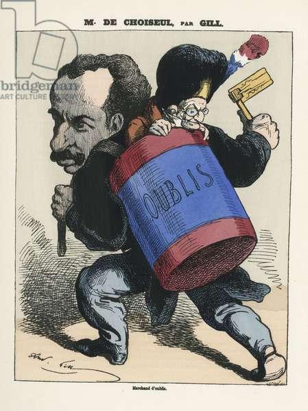 Illustration of Louis Alexandre Gosset de Guines dit Gill (1840-1885) for the Cover of L'Eclipse, 1873-8-3 - Censorship, President of the Republic - Thiers Adolphe, De Choiseul Praslin Horace (1837-1915)
