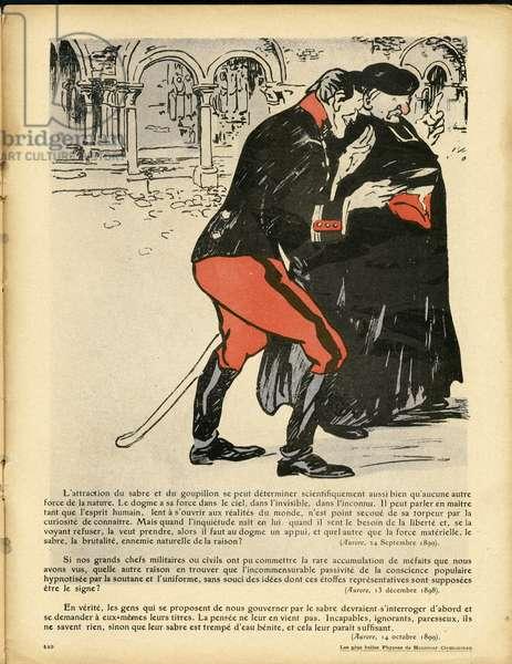L'Plate au beurre, number 401, Satirique en couleurs, 1908_12_5: Armee, Religion - Sabre et pin - Clemenceau George - Illustration by Aristide Delannoy (1874-1911)