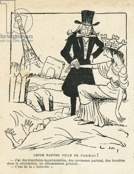 Illustration of Lucien Metivet (1863-1932) in Le Rire, 13/11/09 - This poor city of Parikao - Paris, Architecture Urbanisme, Eiffel Tower, Arc de Triomphe - Paris Allegorie de - Allegorie