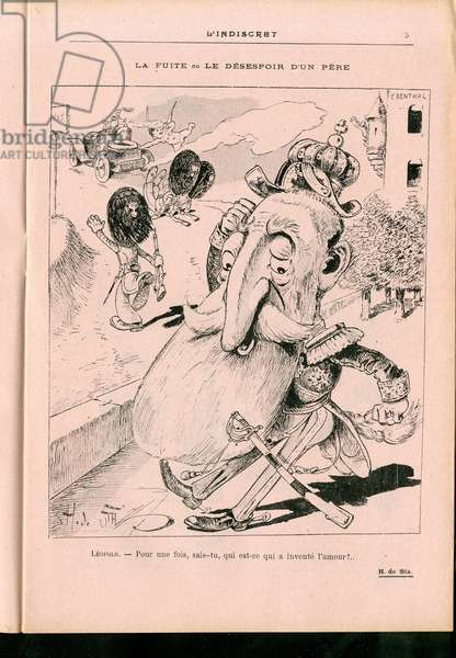 L'Indiscret, Satirique en N & B, 1904_9_21: Belgium - Leopold II Illustration by H. de Sta (1846-1920)