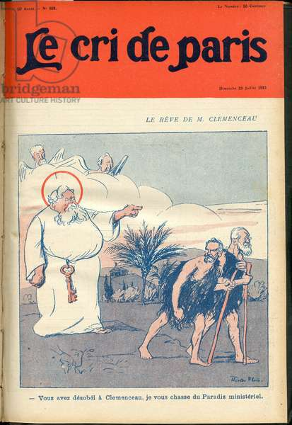 "Cover of """" The Cree of Paris"""", 1912_7_28 - Illustration by Ricardo Flores (1878-1918): The dream of Mr. Clemenceau - President of the Republic, Government - Paradis - Clemenceau George, God, Fallieres Armand (1841-1931) - Religious metaphore"