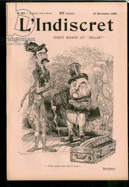 """Cover of """""""" L'Indiscret"""""""", Satirique en N & B, 1906_12_19: Religion - Separation from Church and State - Clemenceau George, Briand Aristide Illustration by Titret-Bognet (1855-1935)"""