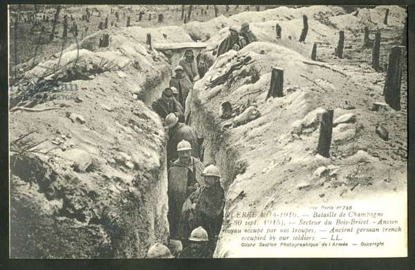 Postcard, N & B, 1915_9: The War 1914-1916 Battle of Champagne - War of 14 -18, Photography, Trchees, Champagne, Front (military), Photographic Section of the French Armee