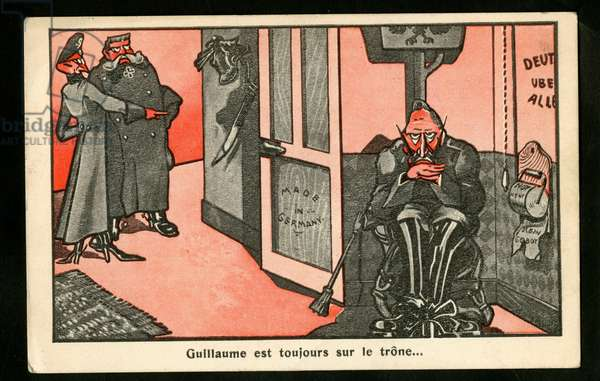 Postcard, Satirical in Colors: William is still on the throne - War of 14 -18 - William II, Paul von Hindenburg (1847-1934), Eric Ludendorff (1865-1937)
