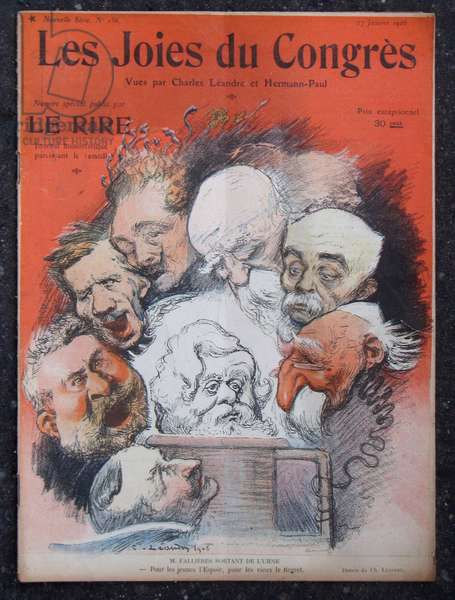 "Cover of """" Le Lire"", Satirique en Couleurs, 1906_1_17: The joies of the congress - President of the Republic, Chamber of Deputes, Socialism, Tribun - Combes Emile (1835-1921), Clemenceau George, Jaures Jean, Fallieres Armand (1841-1931), Brisson Henri (1835-1912), Abbe Jules Edouard Lemé Ire (1853-1928), Deschanel Paul, Rostand Edmond - Illustration by Charles Leandre (1862-1934)"