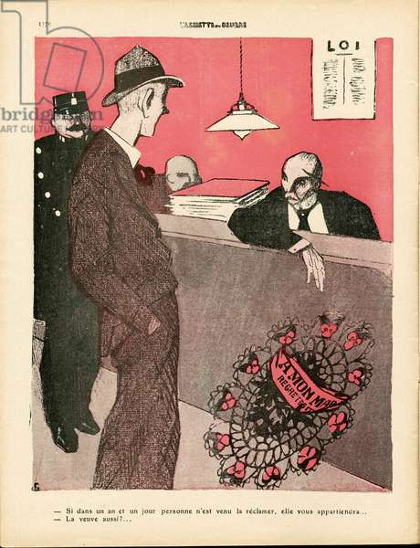 L'Plate au beurre, number 450, Satirical en couleurs, 1909_11_13: Widow, widower - Illustration by J Gris (1887-1927)