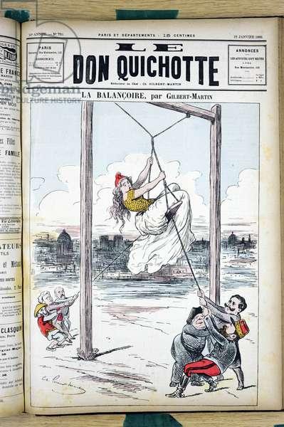 "Cover of """" Le Don Quixote"""", number 759, Satirique en Couleurs, 1889_1_12: The swing - Anticlericalism, Republican, Boulanger - Eg affair with reactionaries - Clemenceau George, Ferry Jules, Boulanger Georges (1837-1891), De Mun Albert (1841-1914), Floquet Charles (1828-1828-1896), Jesuites - Illustration by Charles Gilbert-Martin (1839-1905)"