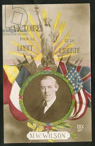 Postcard, Satirical in Colors: War of 14 -18, America, Allies, Three-color Flag, Flags - Statue of Liberty, Wilson Woodrow, President