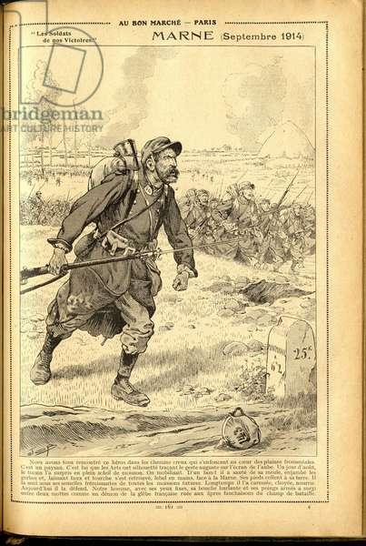 Agenda Buvard du Bon Marche 1917 - Illustration of Job (Jacques Marie (Jacques-Marie) Gaston Onfray and Breville) (1858-1931): Marne September 1914 - War of 14 -18, Marne, Great Battles, Battle of Marne - Soldiers