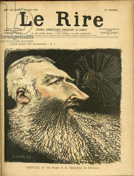 Illustration of Charles Leandre (1862-1934) for the Cover of Le Rire, 1897-7-24 - Belgium - Leopold II
