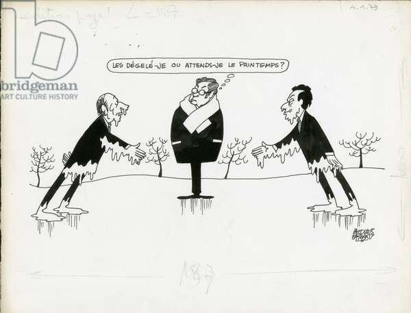 Le Figaro, Satirique en N & B, 1979_1_4: President of the Republic - Mitterrand Francois, Rocard Michel, Mauroy Pierre - Illustration by Jacques Faizant (1918-2006)