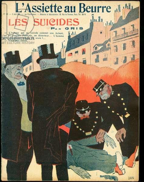 """Cover of """""""" L'Plate au beurre"""""""", number 438, Satirique en couleurs, 1909_8_21: Suicide - Illustration by J Gris (1887-1927)"""