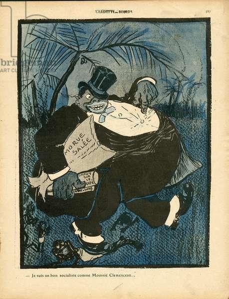 L'Plate au beurre, number 414, Satirique en couleurs, 1909_3_6: Colonization, Elections, Vie des riches, Guadeloupe - Clemenceau George, Boss/Bourgeois, Black - Illustration by Leal de Camara (1877-1948)