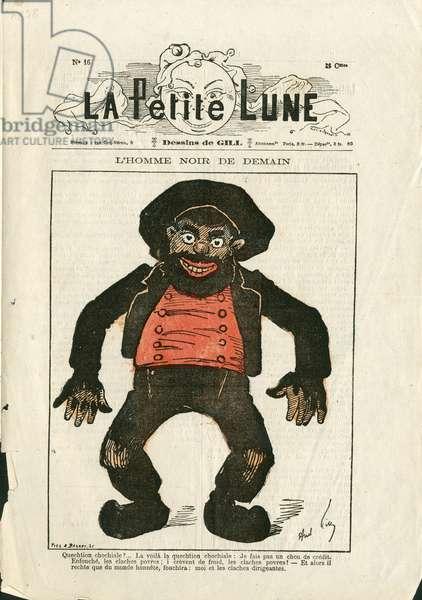 La Petite Lune, number 16 - Illustration by Louis Alexandre Gosset de Guines dit Gill (1840-1885): The black man of tomorrow - Charcoal, Auvergne, bougnat