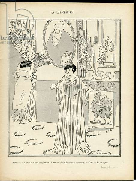 Illustration of Markous (1883-1941) in Le Rire, 21/03/08 - Peace at home - President of the Republic - Clemenceau George, Marianne, Fallieres Armand