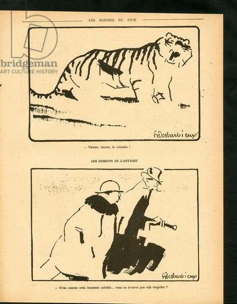 Men of the Day, Satirical in N & B, 1918_1_12: War of 14 -18, Pacifism - Clemenceau George, Tiger