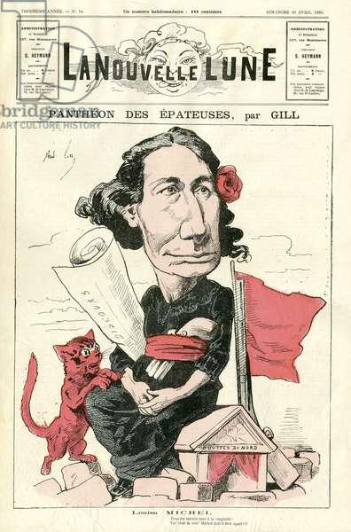 Illustration of Louis Alexandre Gosset de Guines dit Gill (1840-1885) for the Cover of La Nouvelle Lune, 1882-4-30 - Pantheon des epateuses - Michel Louise, Cat