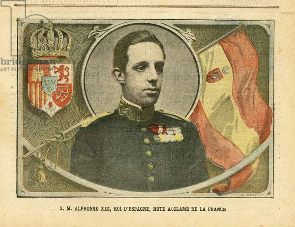 Illustration of Achille Lemot (1846-1909) in Le Pelerin, 04/06/05 - His Majesty Alfonso XIII, King of Spain, Hote Acclame of France - Spain, Monarchy, Flags, Foreign Sovereign - Alfonso XIII