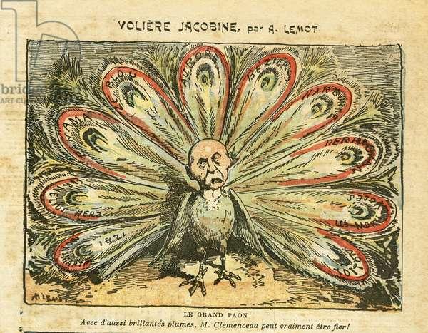 Illustration of Achille Lemot (1846-1909) in Le Pelerin, 26/01/08 - Voliere jacobine - Bloc des lefts, Wine crisis Revolte des vignerons, Narbonne, Beziers, Aurore (diary) - Clemenceau George, Peacock, - Animalisation