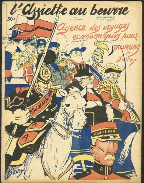"Cover of """" L'Plate au beurre"""", numbero 384, Satirique en Couleurs, 1908_8_8: Belgium, President of the Republic, Hat, Plate au beurre - William II, Nicolas II, Leopold II, Edward VII (1841-1910), Fallieres Armand (1841-1931) - Illustration by Georges d'Ostoya-Sochinsky (D'Ostoya) (1878-Sochinsky) (1878-Sochinsky) (1878 1937)"