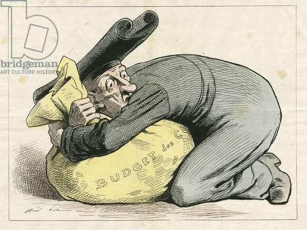 Illustration of Louis Alexandre Gosset de Guines dit Gill (1840-1885) in La Lune rousse, no. 65, 1878-3-3 - Anticlericalism, Religion Faith - Cupidite, Avarice, Budget du cult, Laicisation Laicite Laiques laws - Jesuites
