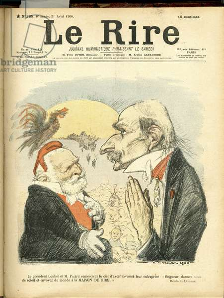 Illustration of Charles Leandre (1862-1934) for the Cover of Le Rire, 1900-4-21 - President of the Republic - Picard Ernest, Loubet Emile