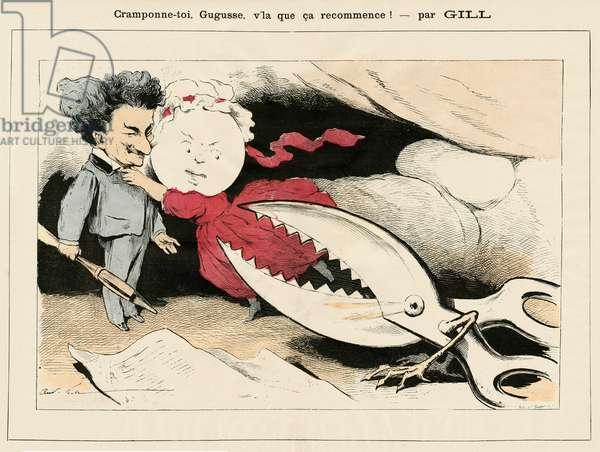 Illustration of Louis Alexandre Gosset de Guines dit Gill (1840-1885) in La Lune rousse, 1876-2-26 - Cramponne-toi Gugusse, v'la let it start again! - Drawers, Censorship, Verifier dates - Gill Andre - Scissors