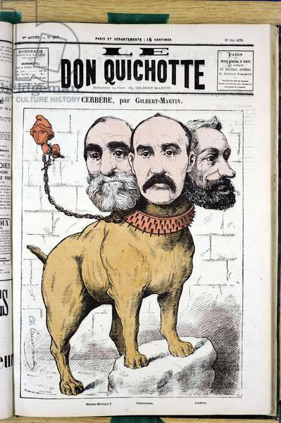 "Cover of """" Le Don Quixote"""", number 257, Satirique en Couleurs, 1879_5_23: Cerbere - Clemenceau George, Marianne, Chien, Lockroy Edouard (1838-1913), Noel Madier de Montjau (1814-1892), Pitt-Bull - Illustration by Charles Gilbert-Martin (1839-1905)"
