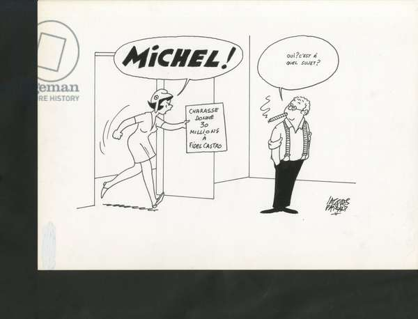 Le Figaro, Satirique en N & B, 1992_8_25: Silver, Cuba - Marianne, Castro Fidel, Charasse Michel - Illustration by Jacques Faizant (1918-2006)