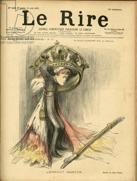 Illustration of Jean Veber (1868-1928) for the Cover of Le Rire, 1897-8-21 - The child martyr - Spain - Alfonso XIII (1886-1941)